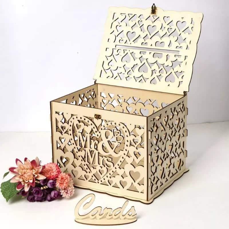 Esküvői persely,pénzes doboz fából