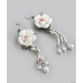 Porcelán rózsás nyaklánc és fülbevaló szett (8496)