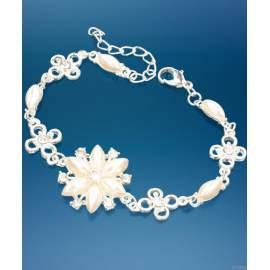 Karkötő üveggyöngyös és fehér virágos