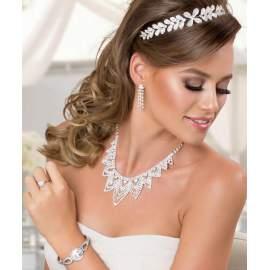 Tiara,Menyasszonyi hajékszer, kristályokkal kirakott virággal és levelekkel