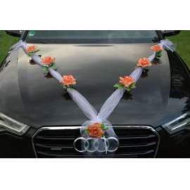Organza girland rózsával autódísz
