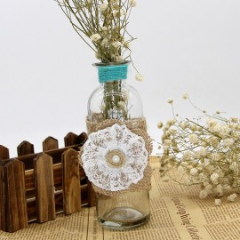 Juta szalag és virág fehér csipkével
