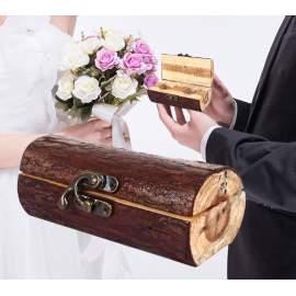 Mr és Mrs rusztikus fa gyűrűtartó doboz