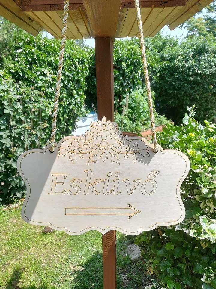 Nagy Esküvői tábla-csipkézett