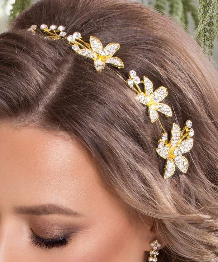 Asszimetrikus  hajékszer, virágokkal és kristályokkal (kód: 8643)